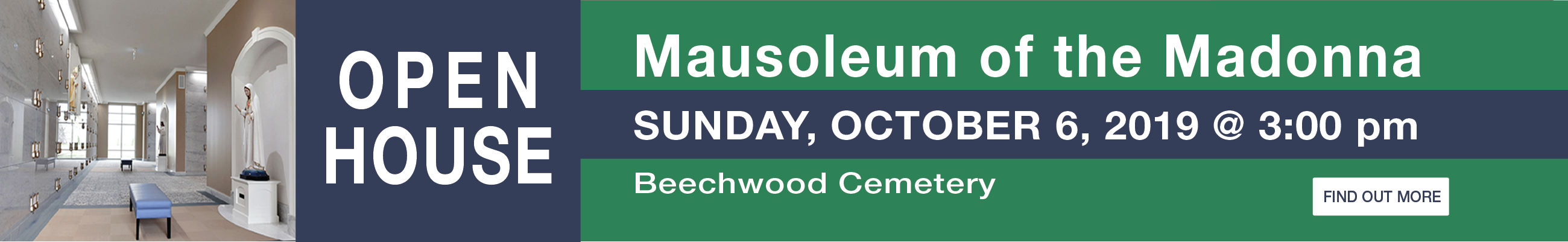 Beechwood Cewmetery Mausoleum of the Madonna Open House Oct. 6, 2019 at 3:00 PM