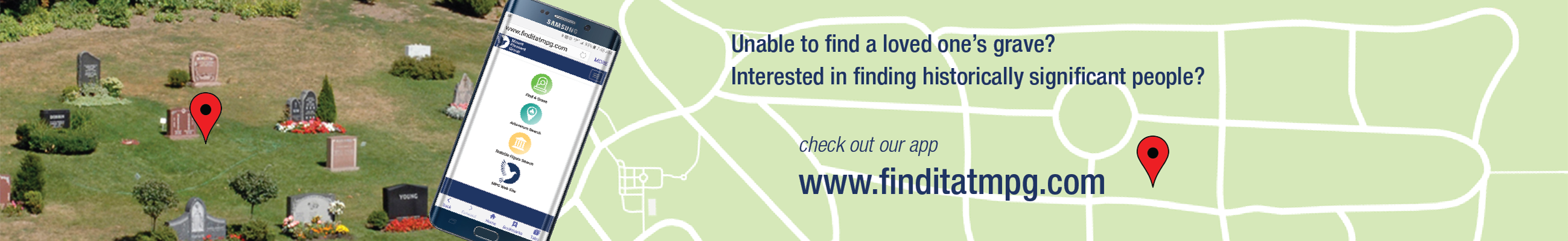 Unable to find a loved one's grave? Interested in findig historically significant people? Check out our app: www.finditatmpg.com.
