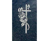 Cross with Rose Design on Black Granite