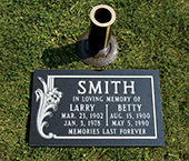 Granite Marker and Bronze Vase