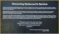 Honouring Earlscourt - Bronze plaque commemorating the service of the citizens of Earlscourt during World War I.